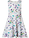 Funnycokid Grils Party Dress Mermaid Printed Casual Clothes Outfits 6-7 T