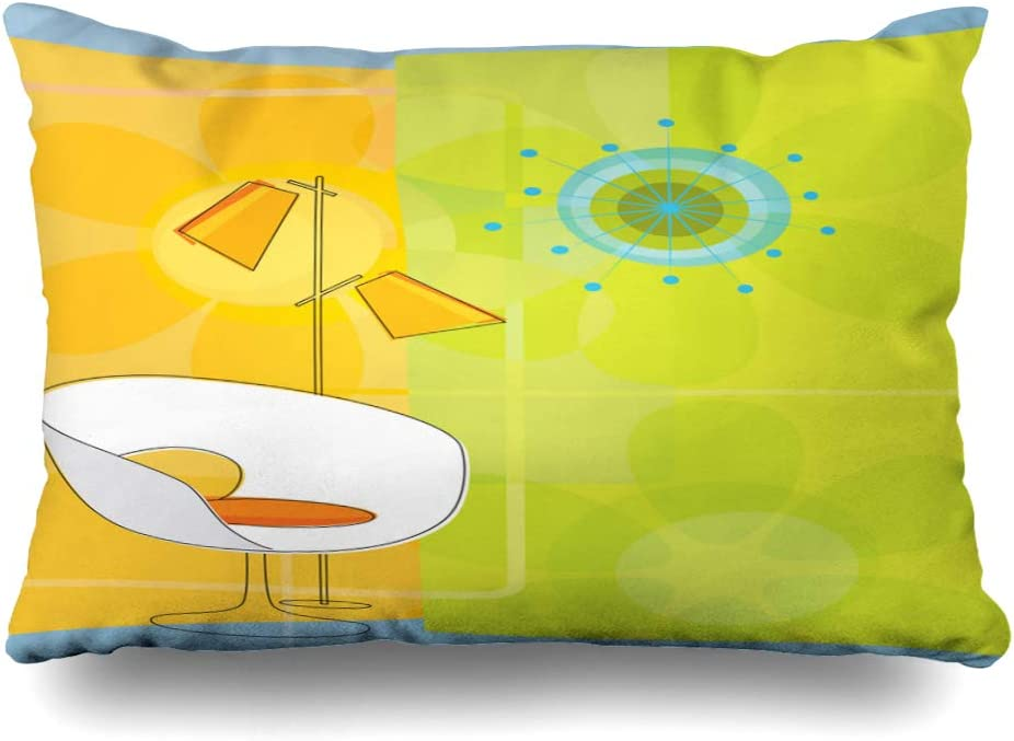 Ahawoso Throw Pillow Cover 20x26 Inches 50S Retro Imagery Modern Midcentury Motif Furniture Clock 1960S Chair Starburst Revival 1950S Seat Decorative Pillowcase Home Decor Cushion Pillow Case