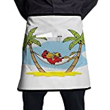 Guiping Funny Illustration Of Parrot Lying Down In Hammock Between Palm Tree Shade In Tropics Kitchen Apron With Pockets For Men And Women