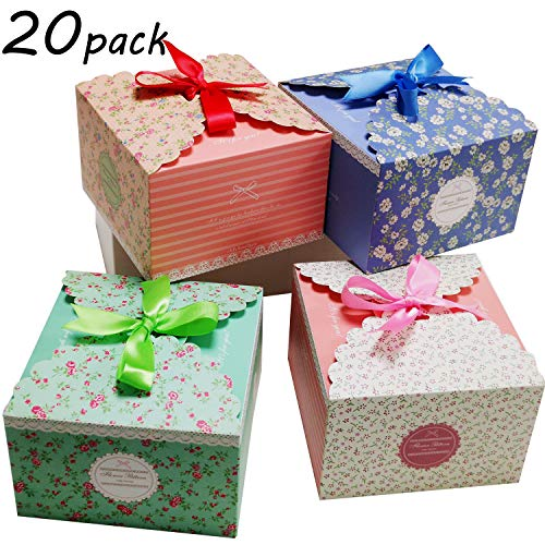 (Chilly Gift Treat Boxes 20 Pack with Ribbons for Cake, Cookies, Goodies, Candy and Handmade Bath Bombs Shower Soaps Gift Boxes for Party, Christmas, Birthdays, Holidays, Weddings (Flower)