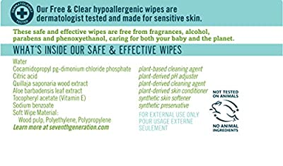 Seventh Generation Baby Wipes, Free & Clear Unscented and Sensitive, Gentle as Water, with Flip Top Dispenser