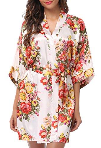1stmall Floral Satin Kimono Short Style Bridesmaids Robes for Women White-S