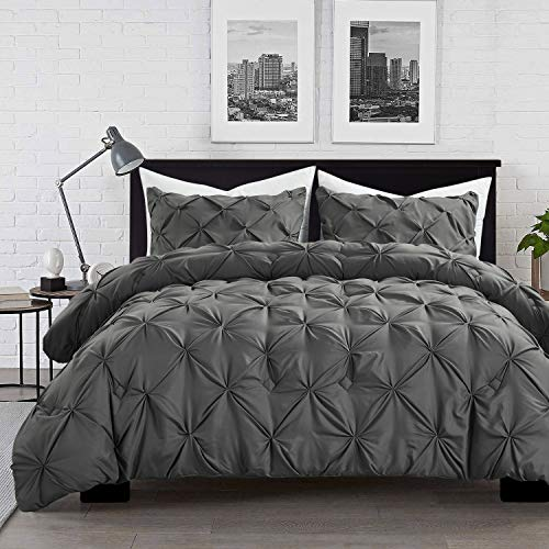 HOMBYS 3 Pieces Pinch Pleat Comforter Set, Pintuck Bedding Sets with Comforter, 2 Pillow Shams, Down Alternative White…