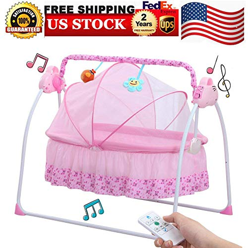 Baby Cradle Swing, Baby Cradles Bed Electric Baby Crib Cradle Auto Rocking Chair Newborns Sleep Bed or Infants Outside with Dolls, Music Boys or Girls bassinets, USA Stock (Pink)