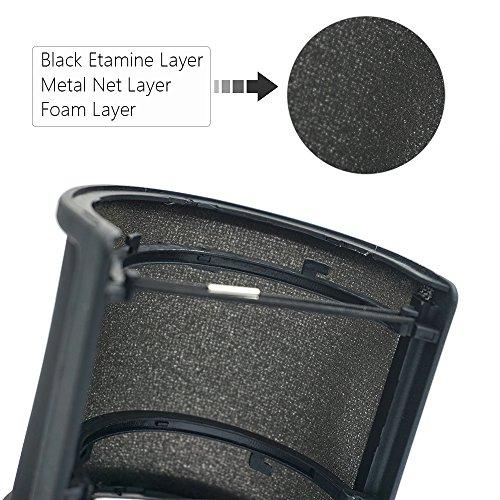 Sywon Metal Mesh and Foam Layer Mic Cover Handheld Microphone Pop Filter Windscreen Wind Screen Studio Shield Mount, Black - Image 2