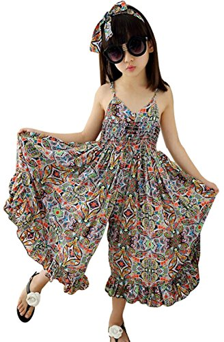 Straps Dress Girls (BANGELY Little Girl's Summer Cute Floral Sleeveless Straps Jumpsuit Beach Boho Dress Size 5-6Years/130cm (Orange))