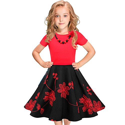 IBTOM CASTLE Girls 50s 'Audrey' Vintage Swing Rockabilly Retro Party Dress for Kids Hepburn Patchwork Polka Dots Costume Short Ball Gown #3-Red&Black Floral+Necklace 4-5 Years
