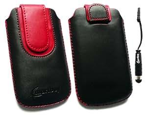 Emartbuy ® Stylus Pack Para Bluechip Neon Negro / Rojo Slide En Cuero De Primera Calidad Pu Funda / Estuche / Manga / Soporte (Medium Size) Con Mecanismo Pull Tab + Metallic Mini Negro Stylus + Protector De Pantalla