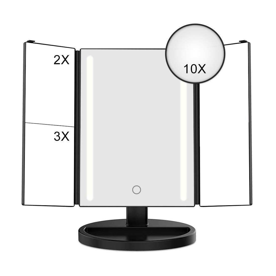 ARINO Miroir de maquillage éclairé Miroir de maquillage avec lumière miroir miroir de table pliante à 3Pages jusqu'à 10X de grossissement, orientable à 180° pour salon étude cosmétique Bain Noir
