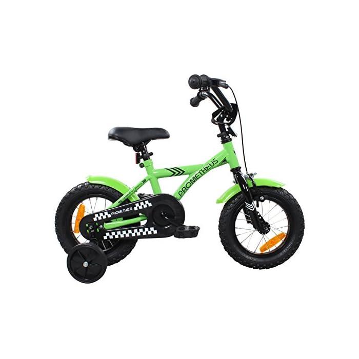 Prometheus Bicicleta Infantil | 12 Pulgadas | Niño y Niña | Verde Negro | a Partir de 3 Años | con Ruedines y Freno de Contrapedal | 12″ Modelo Bmx 2019