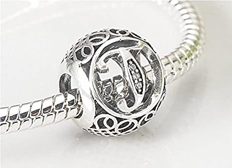 26 Sterling Letters 925 Silver Charms Bead For European Charm Bracelet Necklace