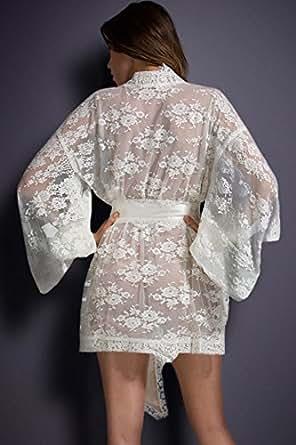 White Belted Lace Kimono Nightwear