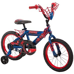 "16"" Huffy Boys' Ulitmate Spiderman Bike, Red, Durable, Adjustable Seat, With Training Wheels"