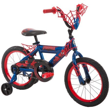 "16"" Huffy Boys' Ulitmate Spiderman Bike, Red, Durable, Adjustable Seat, With Training Wheels"