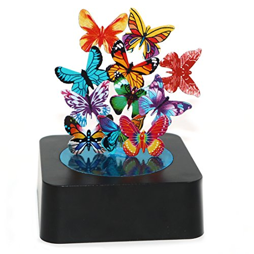 - AblueA Magnetic Sculpture Desk Toy Coffee Table Piece As Office Gift Stocking Stuffer (Square Base - Butterflies)
