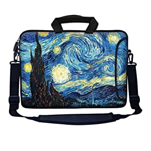 "Meffort Inc 15 15.6 inch Neoprene Laptop Bag Sleeve with Extra Side Pocket, Soft Carrying Handle & Removable Shoulder Strap for 14"" to 15.6"" Size Notebook Computer - The Starry Night"