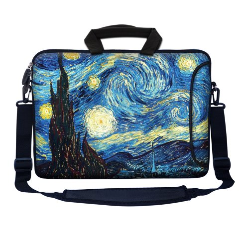 Meffort Inc 15 15.6 inch Neoprene Laptop Bag Sleeve with Extra Side Pocket, Soft Carrying Handle & Removable Shoulder Strap for 14 to 15.6 Size Notebook Computer - The Starry Night