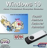 9th and Vine Compatible Windows 10 Home, Professional, Education, Enterprise 32/64 Bit USB Flash Drive. Install To Factory Fresh, Recover, Repair and Restore. Fix PC, Laptop and Desktop.