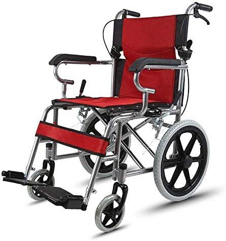 ZXCMNB Rollstuhl Tragbarer Transit-Aluminiumrollstuhl Mit Rückentasche Und Rutschfester, Klappbarer Fußstütze. Maximale Zuladung 100 Kg (Color : Red)