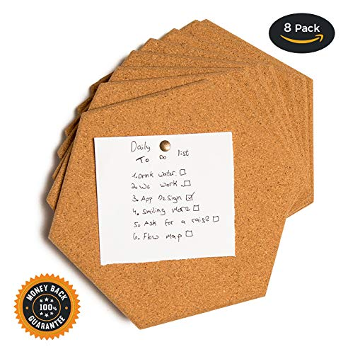 Premium thick Cork tiles  Cork board Pin board 8 Pack including M3 double sided adhesive and push pins