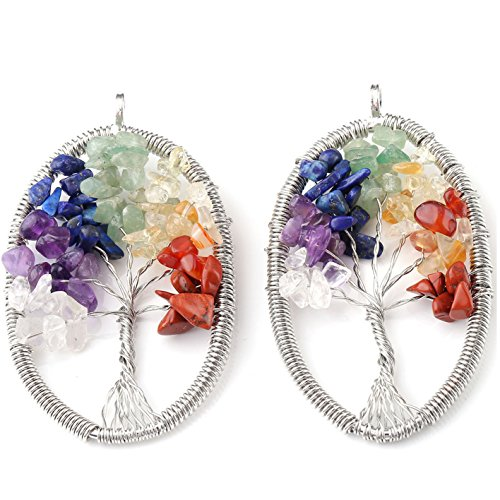 Top Plaza 2pcs Women's Wire Wrapped Tree of Life 7 Chakra Stone Necklace Tumbled Stone Beads Pendant Necklace (Oval)