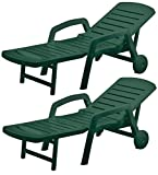 Resol Palamos Folding Sun Lounger - Green Plastic - Pack of 2 Loungers