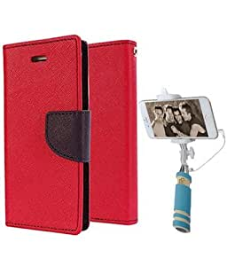 Aart Fancy Diary Card Wallet Flip Case Back Cover For Samsung 7102 - (Red) + Mini Aux Wired Fashionable Selfie Stick Compatible for all Mobiles Phones By Aart Store