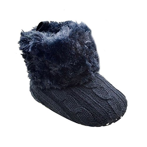 Weixinbuy Baby Girls Knit Soft Fur Winter Warm Snow Boots Crib Shoes (S(0-6 months), Black)