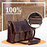 KomalC 16 Inch Buffalo Leather Briefcase Laptop