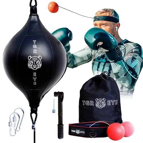 Double End Bag Boxing Set – Reflex Bag & Reflex Ball with Headband & Pump – Boxing Equipment for Training at Home – Hand…