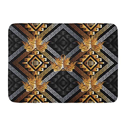 - Emvency Bath Mat Abstract Modern Geometric Black Gold Silver 3D Rhombus Greek Key Shapes Figures Damask Flowers Bathroom Decor Rug 16