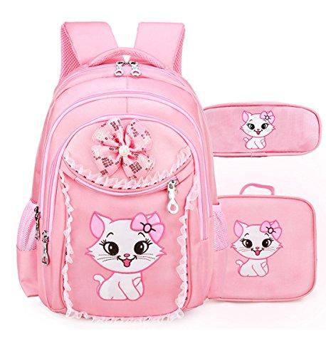 - Debbieicy Cute Cat Printing Lace Backpack Lightweight Princess School Bag Kids Bookbag Handbag Pen Bag Set for Primary Girls (Large, Pink1(Backpack Handbag Pen Bag))