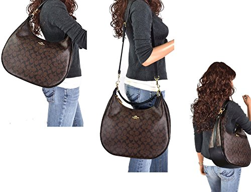 Bag Brown in Monogram Hobo Shoulder SALE Authentic Elegant COACH Large Black New Signature 8x1wZq