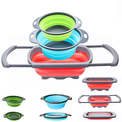 (Collapsible Colander - Over the kitchen sink strainer - Silicone Kitchen Strainer Set of 3-6 quart,3 Quart and 2 Quart for Draining Pasta, Vegetable and Fruit (Multi))