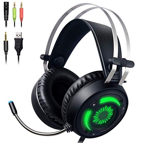 Gaming Headset PS4 Headset Xbox One Headset with Surround Sound, PC Headset with Noise Canceling Mic&LED Light…