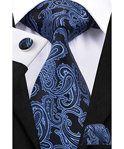 (Dubulle Mens Blue Paisely Tie with Pocket Square Woven Silk Necktie Set for Business)