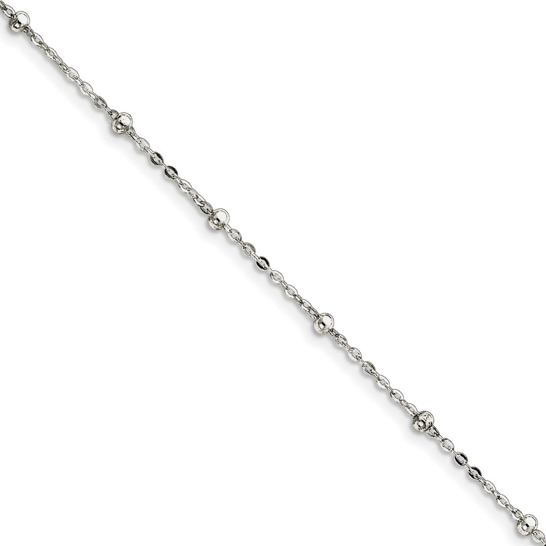 Ankle Bracelet Foot Jewelry Anklet - ICE CARATS 925 Sterling Silver 1mm Beaded Chain Anklet Ankle Beach Bracelet Ball Beadsed Fine Jewelry Ideal Gifts For Women Gift Set From Heart