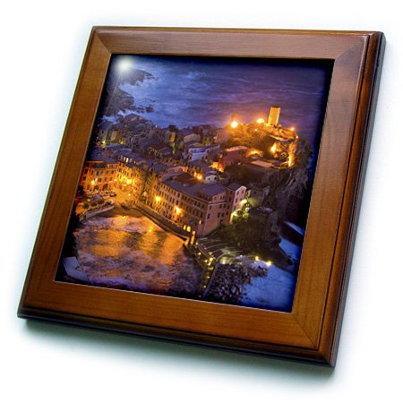 Evening-EU16 BJA0773-Jaynes Gallery-Framed Tile Cinque Terre 3dRose ft/_82074/_1 Italy Vernazza 8 by 8-Inch