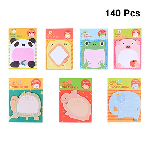 LUOEM 7 Sheets Kids Animal Stickers Notes Lovely Cartoon Post Memo Sticky Pads for Home School Offcie