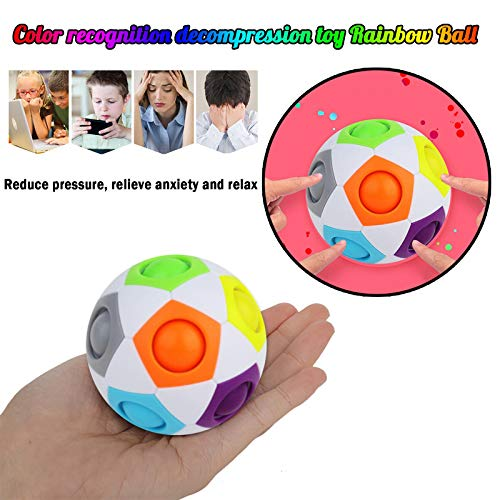 WANYNG Magic Rainbow Puzzle Ball,Color-Matching Game Fidget Toy Stress Reliever Magic Ball Brain Teaser Fidget Toys for Children Teens & Adults (Multicolor, 1 PC)