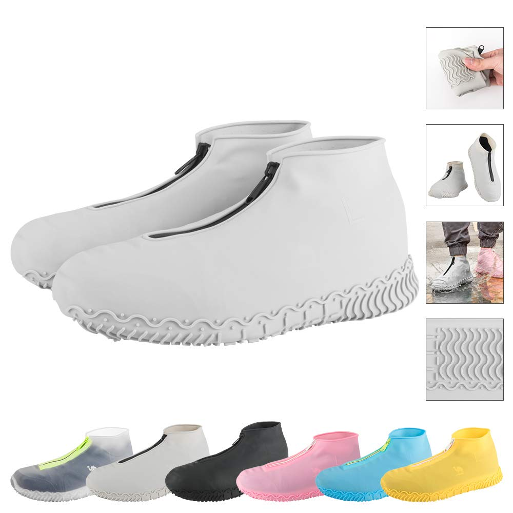 ATOFUL Reusable Silicone Waterproof Shoe Covers, Silicone Shoe Covers with Zipper No-Slip Silicone Rubber Shoe Protectors for Kids,Men and Women (Gray, M) by ATOFUL