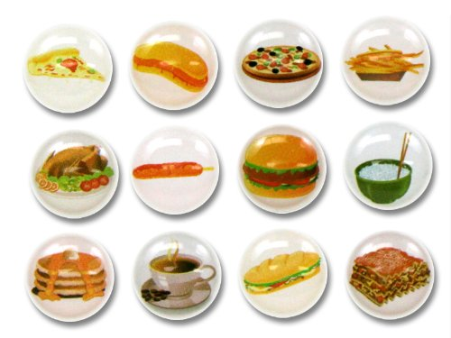 Fast Foods 12 Pieces Home Button Stickers for iPhone 5 4/4s 3GS 3G, iPad 2, iPad Mini, iPod Touch