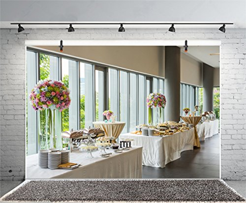 (Leyiyi 6x4ft Photography Background Wedding Ceremony Party Backdrop Restarant Interior Decor Buffet Dessert Table Flowerballs Garden Hotel Eatery Banquet Phhoto Portrait Vinyl Studio Video Prop)