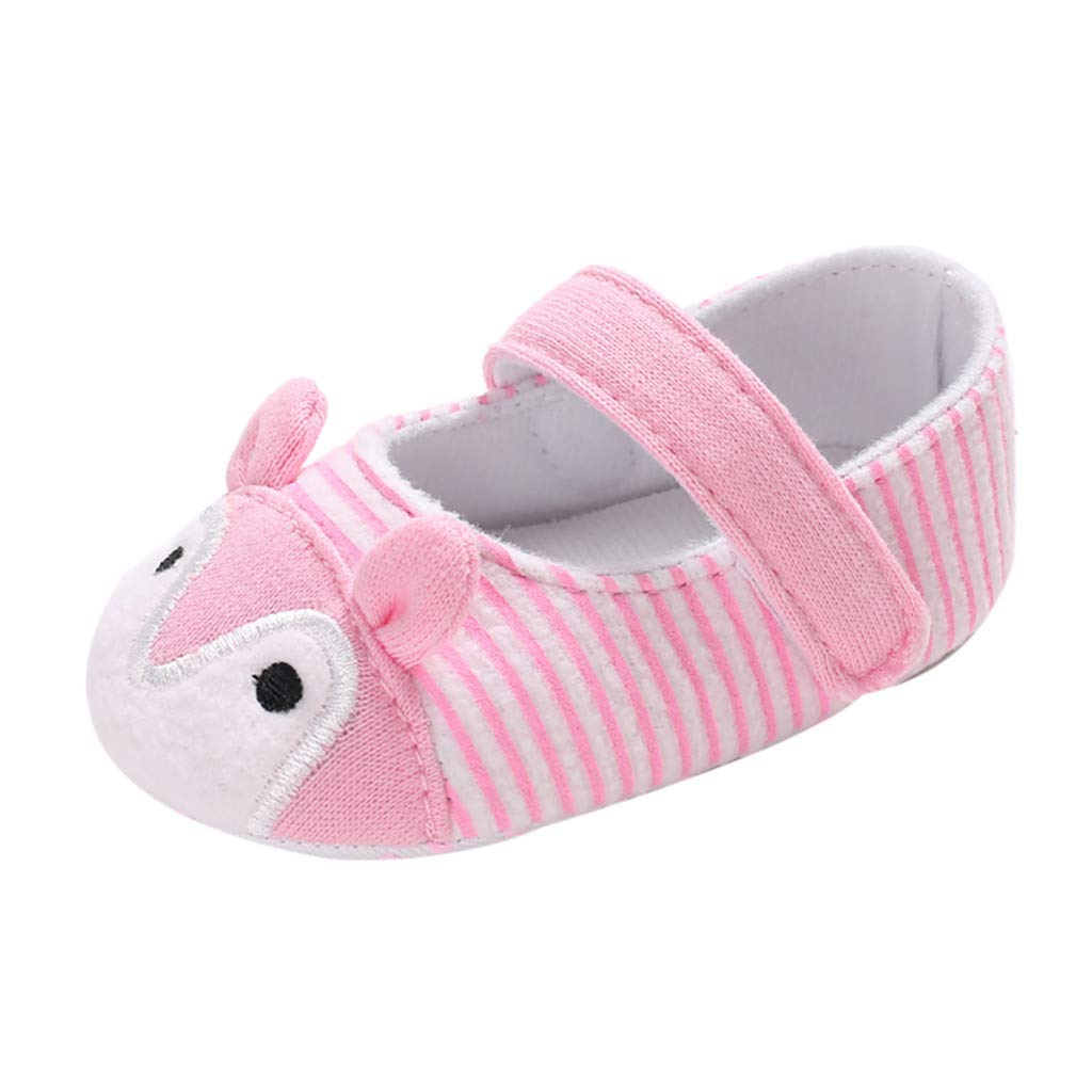 NUWFOR Infant Newborn Baby Girls Prewalker Cartoon Animal Ears Soft Sole Single Shoes(Pink,0~6 Month)