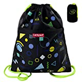 Kids Drawstring Bag with Front Zipper Pocket, Black by Larkpad For Sale