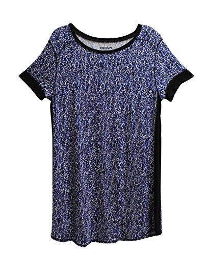 Top Pajama Dkny (DKNY Womens Short Sleeve Contrast Trim Sleep Shirt Blue L)