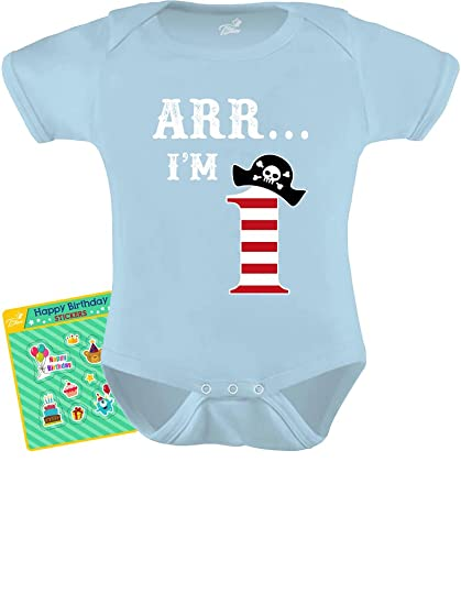 d26ec2a5 Tstars 1st Birthday Arr I'm 1 Pirate Party Gift Bodysuit One Year Old Baby