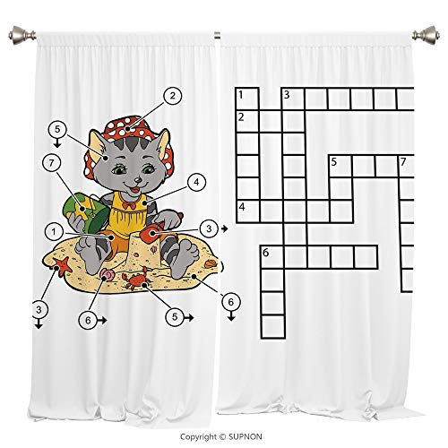 Rod Pocket Curtain Panel Thermal Insulated Blackout Curtains for Bedroom Living Room Dorm Kitchen Cafe/2 Curtain Panels/55 x 45 Inch/Word Search Puzzle,Crossword Game for Children Cute Cat on Beach an