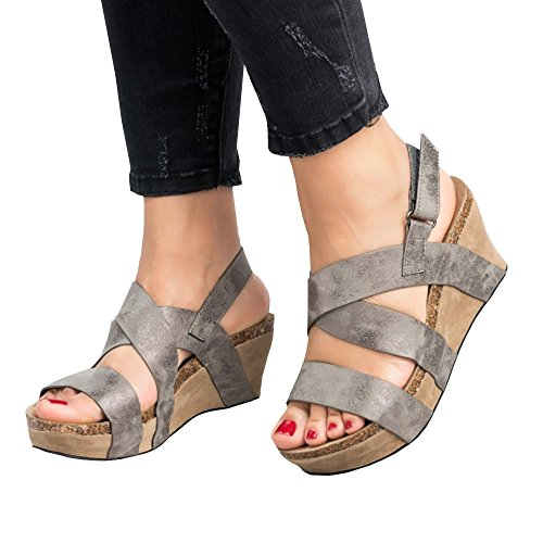 Sheleau Womens Cross Strap Velcro Peep Toe Wedge Sandals Casual Espadrille Platform Suede Shoes Grey
