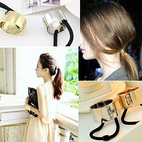 Stunning Fashion Punk Rock Metal Circle Ring Hair Cuff Elastic Hair Rope Wrap Ponytail Holder Band Hair Band Accessories